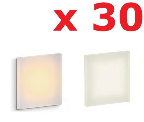 kit 30x balizador led escada luminária embutir parede - ax