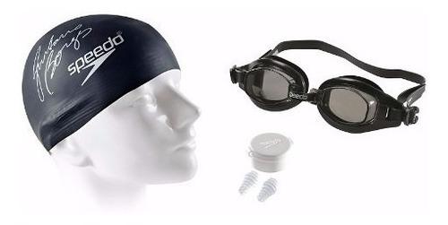 kit 3/1 speedo swim 3.0 natação tampão touca óculos 509173 f