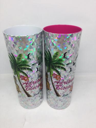 kit 32 copos long drink metalizado holográfico personalizado