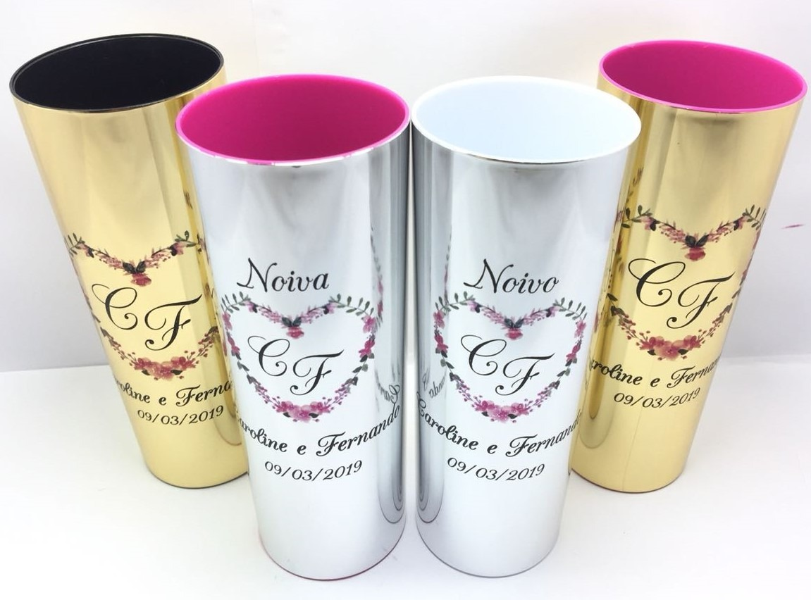 90e2349ab Kit 35 Copos Long Drink Metalizados Coloridos Personalizados - R ...