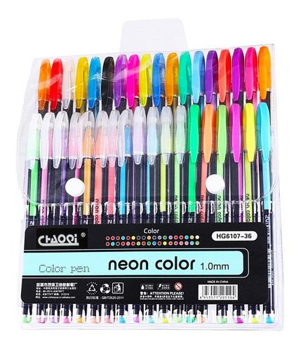 kit 36 plumas de gel colores neon pastel fluorescentes arte