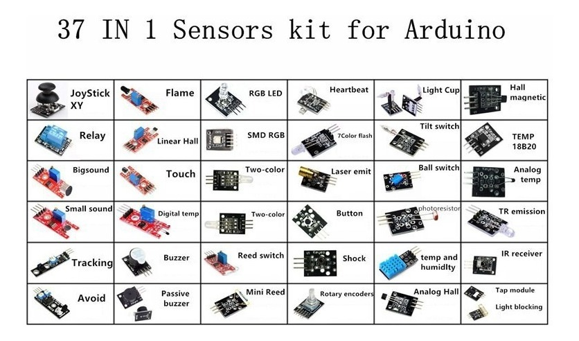 Kit 37 En 1 Sensores Módulos Arduino Shield Sensor Módulo