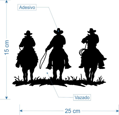 kit 3x adesivo vaquejada cowboy 3 cavaleiros 25cm a672