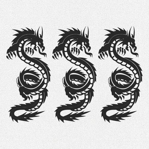 kit 3x adesivos dragões tatuagem 20cm cada a596
