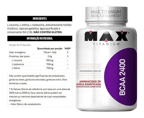 kit 3x bcaa - max titanium (180 cáps)