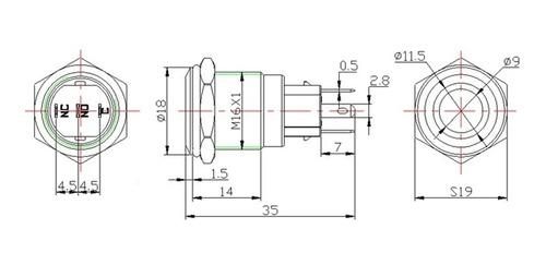kit 3x botões power, liga desliga 12v led 16mm c/ trava.