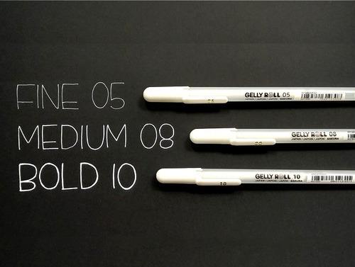 kit 3x caneta gel branca sakura gelly rool 0.5 0.8 1.0