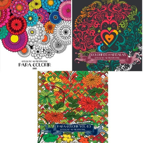 kit 3x livro pixel art books colorindo mandalas antiestresse