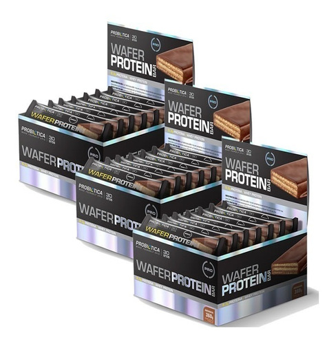 kit 3x wafer protein bar sabores c/12un 30g - probiotica