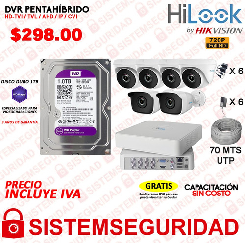kit 4 6 2 8 camaras seguridad hd 720p 1080p disco cable cctv