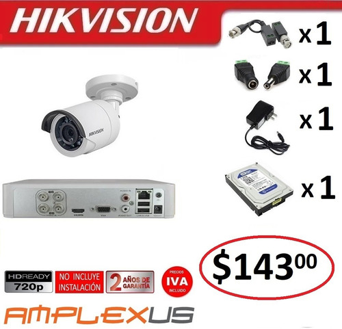 kit 4 6 8 16 camaras seguridad 720p hikvision disco duro 1tb