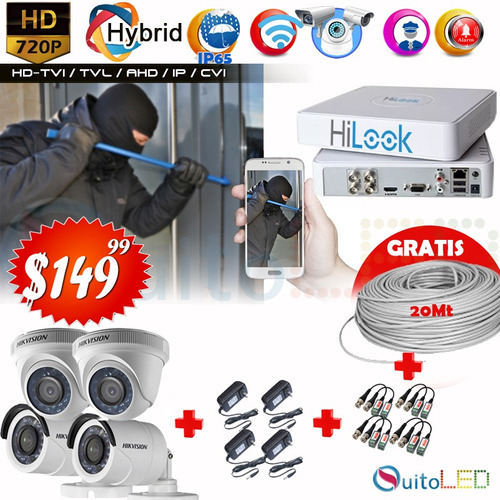 kit 4 8 16 camaras seguridad cctv hd 720p 1080p disco cable
