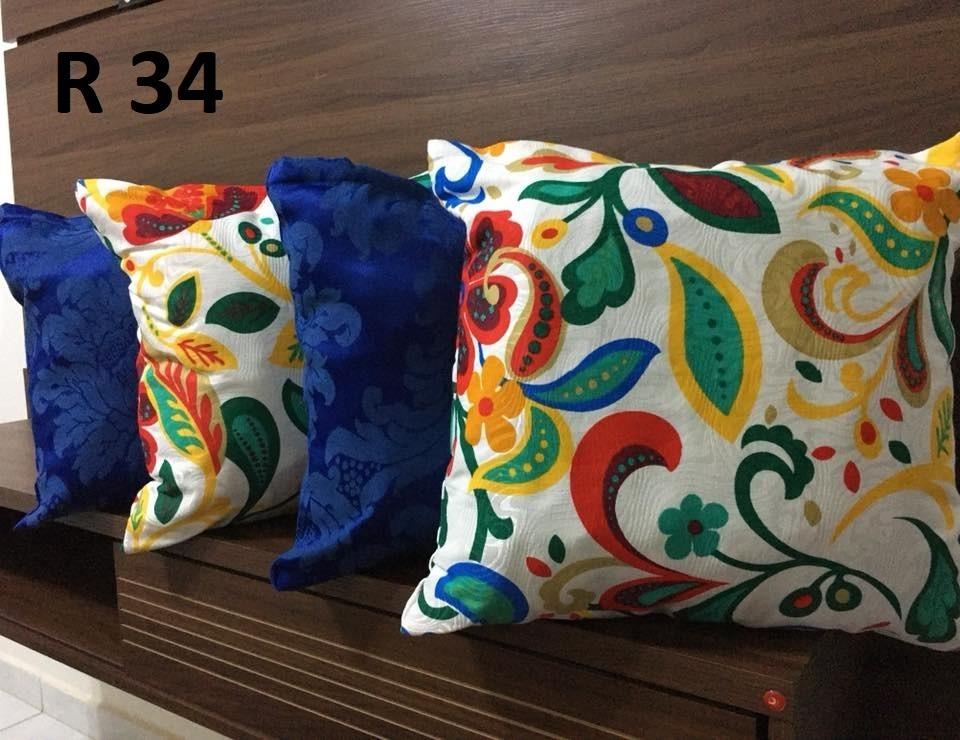 8e379b5d8 kit 4 almofadas cheias para sofá estampadas colorida e azul. Carregando  zoom.