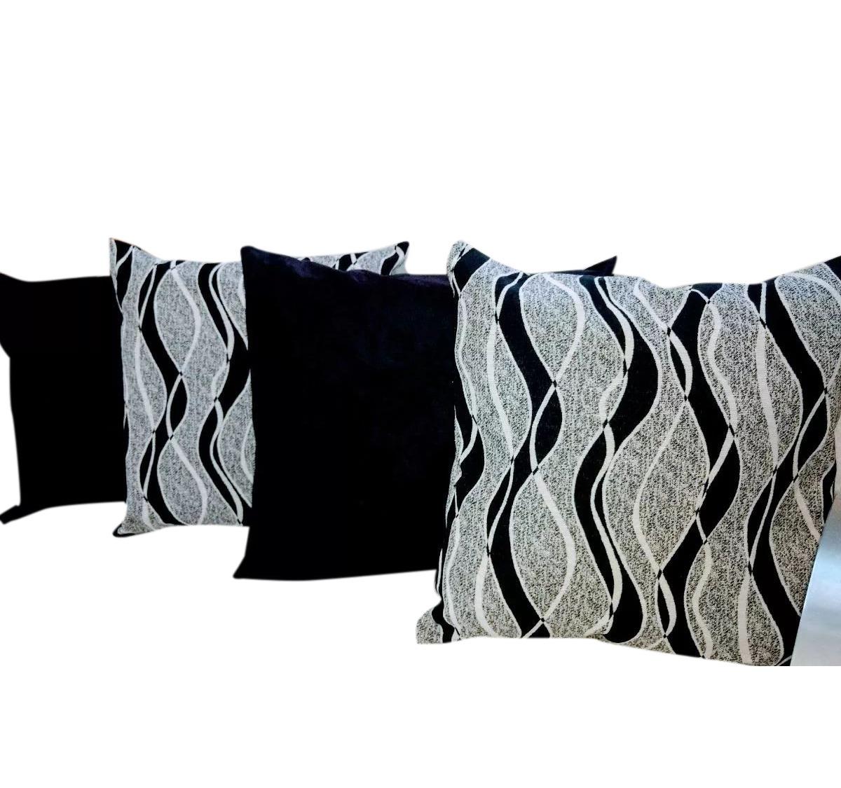 b09e8cd62 kit 4 almofadas decorativas jacquard sued preto 45x45. Carregando zoom.