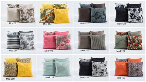kit 4 almofadas para decoração cheias floral com zíper 45x45