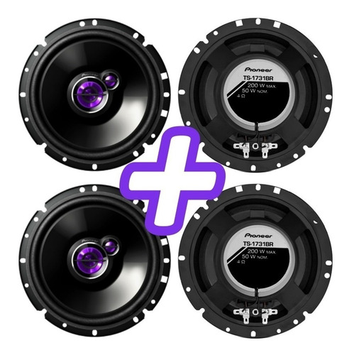 kit 4 alto falantes pioneer dianteira/ traseira onix (todos
