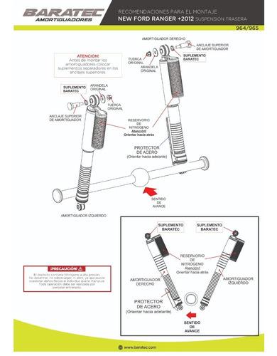 kit 4 amortiguadores baratec ford ranger 2012+