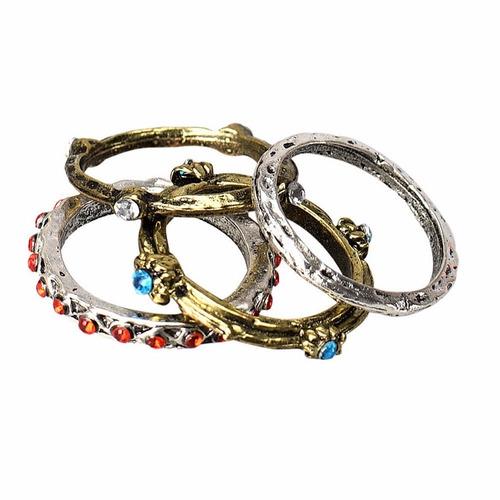 kit 4 anéis retrô hippie rustico cristal strass colorido