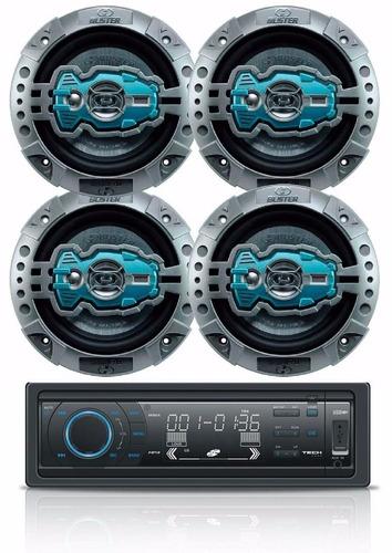 kit 4 auto falantes 6 polegadas universal 260w + cd player