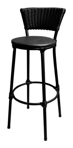 kit 4 banquetas bar cozinha cuba junco preto assento preto