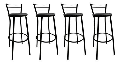 kit 4 banquetas epoxi preto assento preto - consulte frete