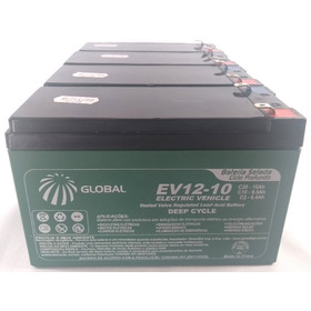 Kit 4 Bateria Gel Global 12v 10ah 48v Scooter Bike Elétrica.
