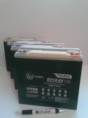 kit 4 bateria gel global 12v 24ah ciclo profundo 6-dzm-20