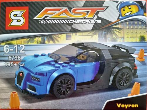 kit 4 blocos de montar carros corrida bugatti veyron ford gt
