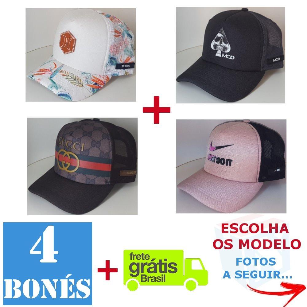 b51e996a2b3dd Kit 4 Bonés Trucker Tela Telinha Aba Curva Reta Qualidade Us - R ...