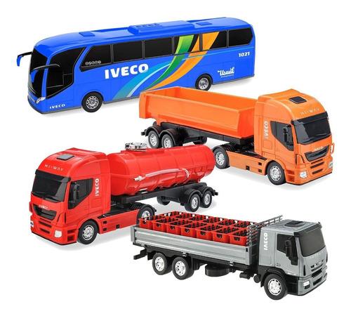kit 4 brinquedos iveco caçamba delivery bombeiro e ônibus