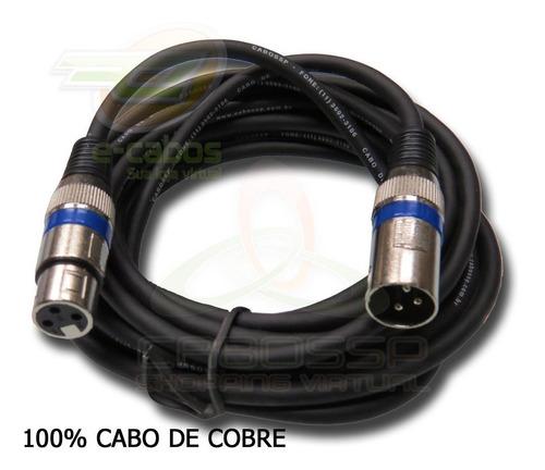 kit 4 cabos microfone/dmx - xlr/canon balanceado 5 metros