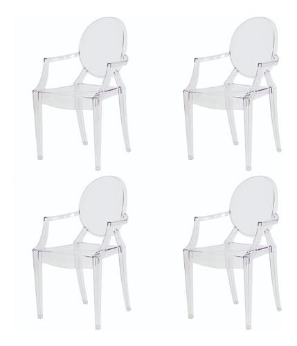 kit 4 cadeiras de sala mesa para jantar sofia transparente