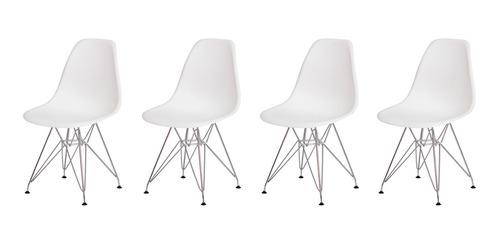 kit 4 cadeiras eiffel eames base cromada varias cores