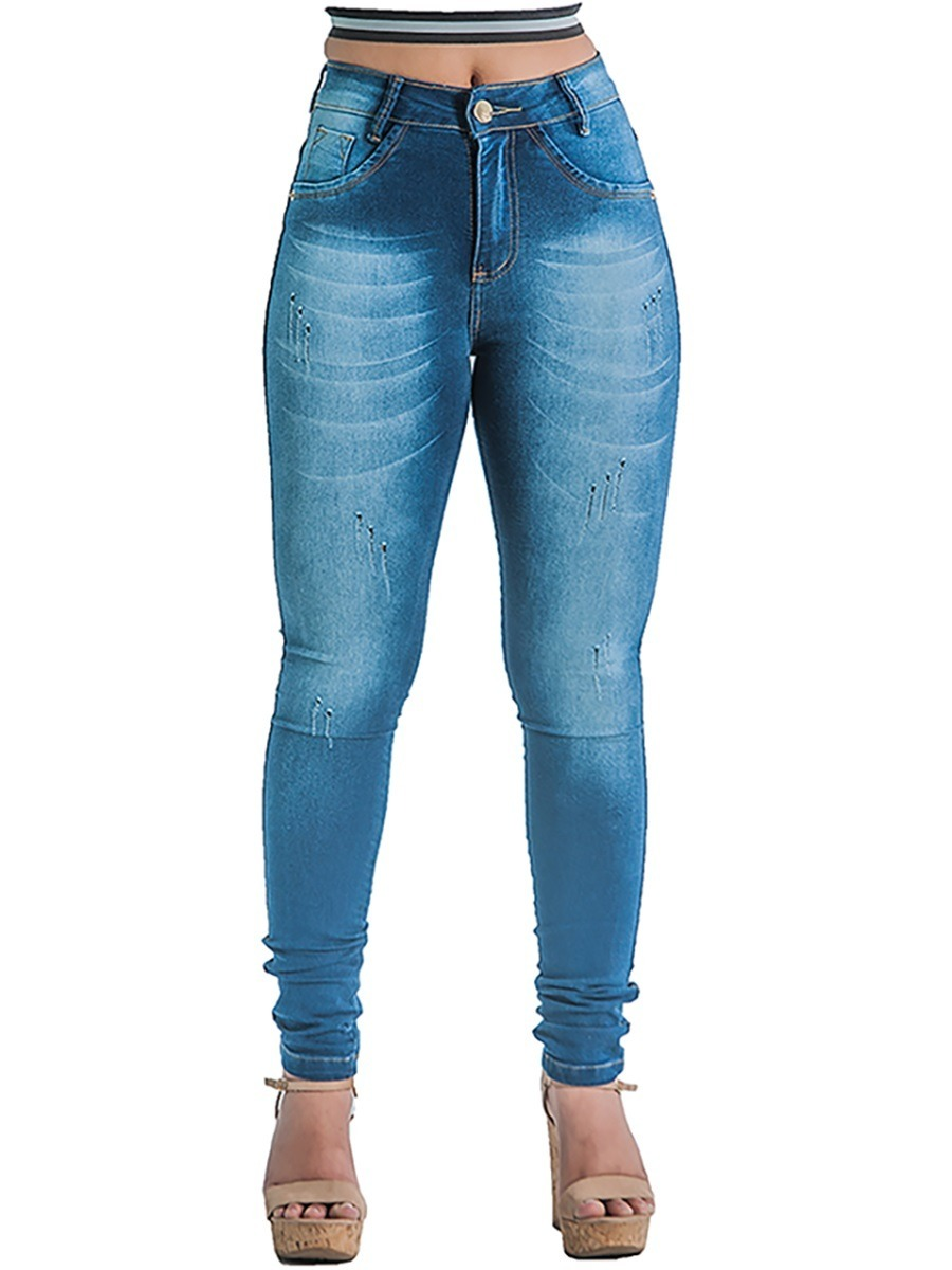 f56421edc kit 4 calça jeans cintura alta strech lycra cós alto ref 32. Carregando  zoom.