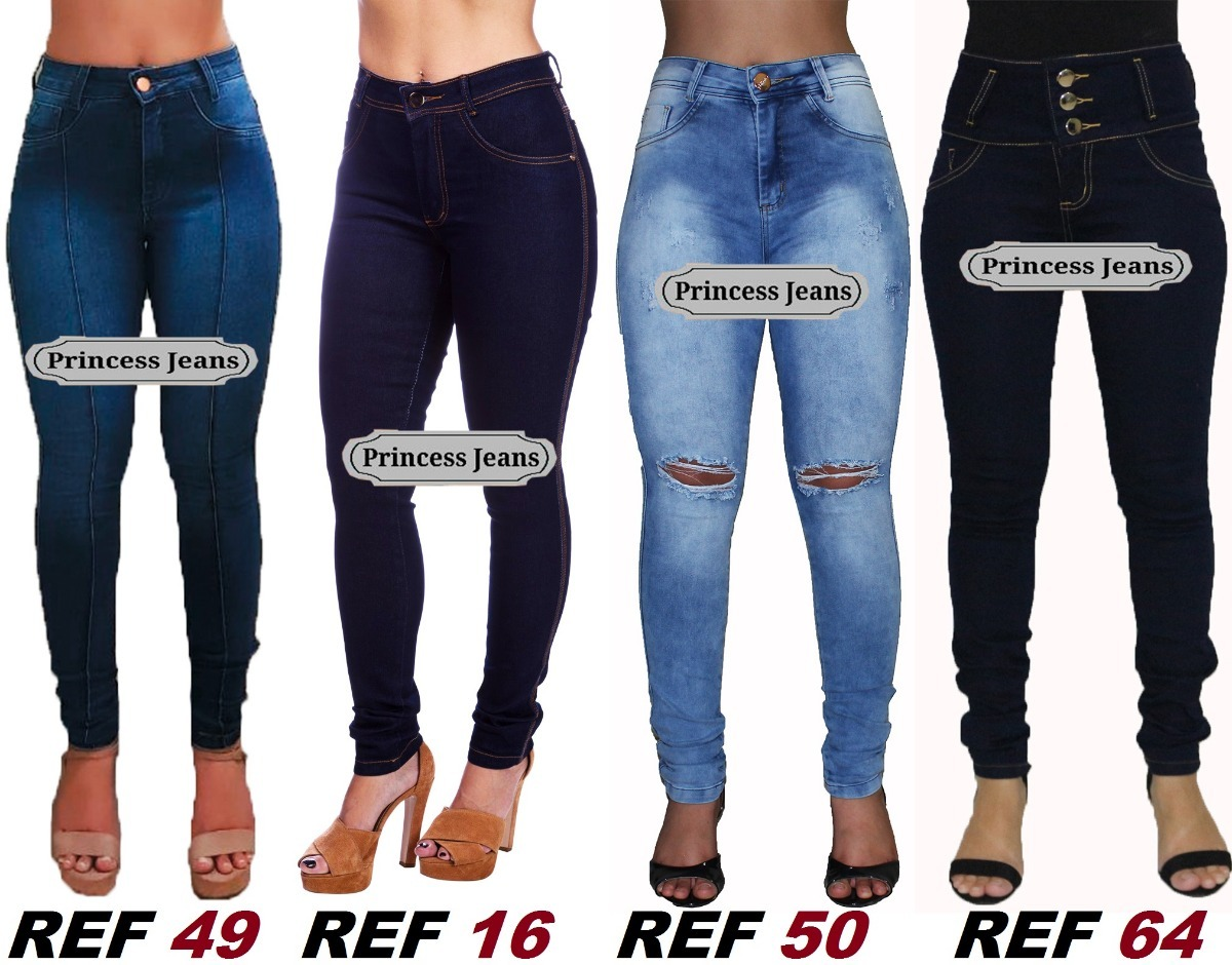 526f3eb3e kit 4 calça jeans cintura alta strech lycra cós alto ref:32. Carregando  zoom.