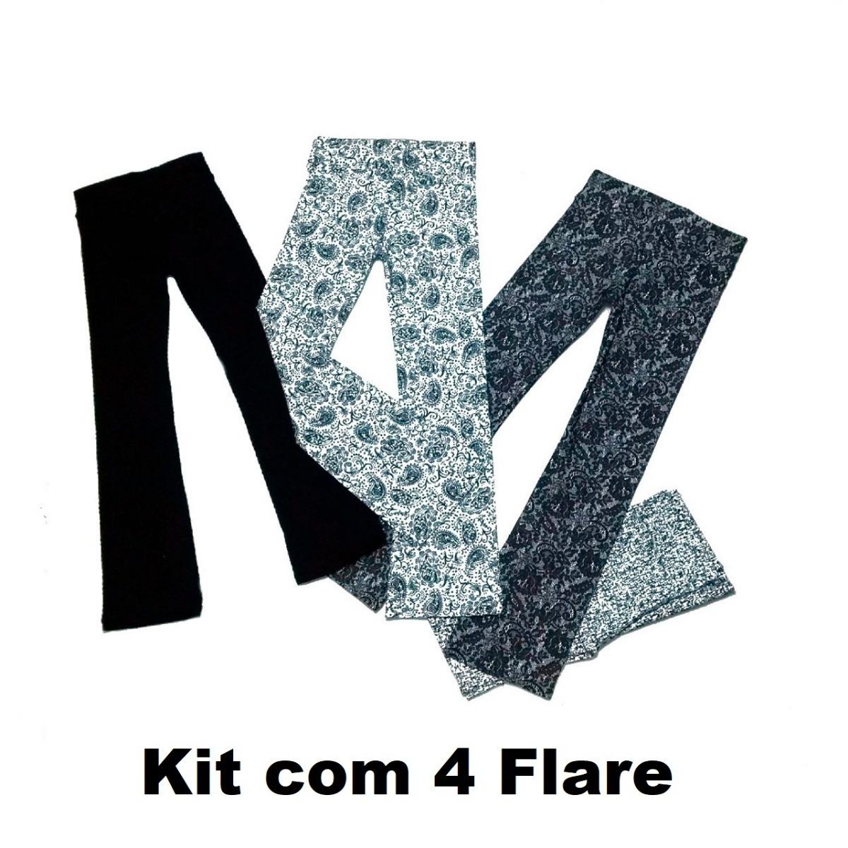 3f0dc7669 Kit 4 Calças Flare Social Roupa Feminina Promoção - R  84