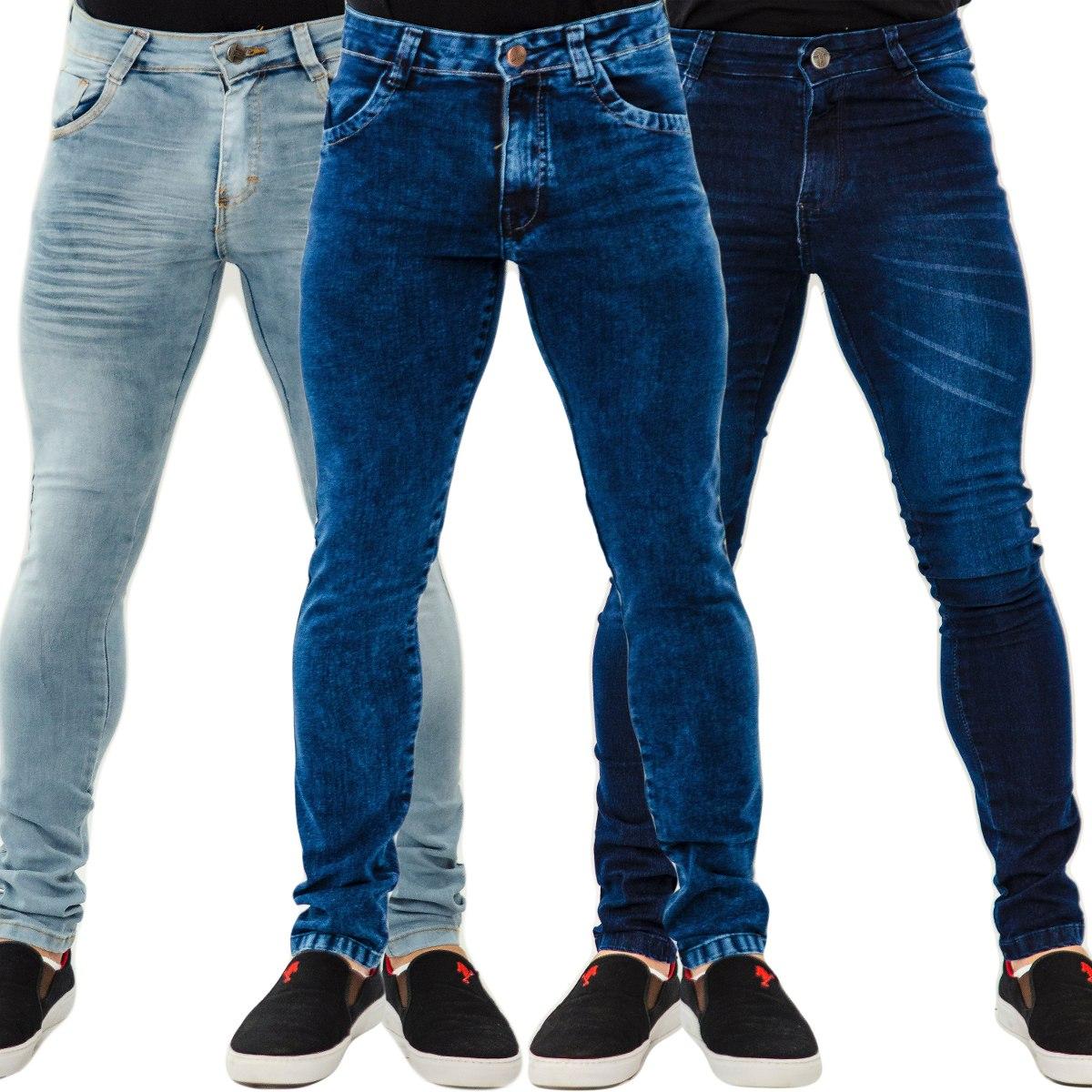 Kit 4 Calças Jeans Masculina Skinny C  Lycra Slim Especial - R  216 ... ab412a1529201
