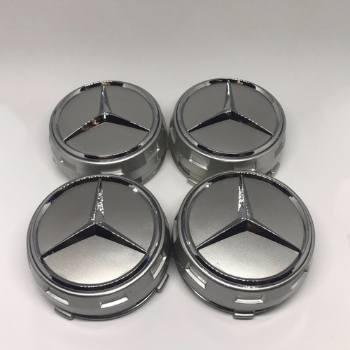 kit 4 calota centro roda mercedes benz amg 75mm c63 - prata