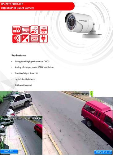 kit 4 camaras 1080p + dvr hikvision 4ch 1080p stp. ip y ptz