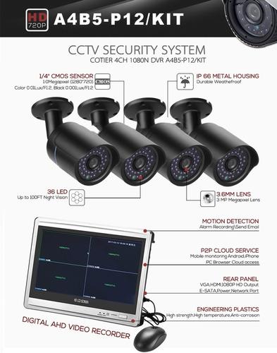 kit 4 cámaras 720p cotier dvr ir night vision 25m