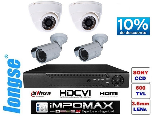 kit 4 camaras cctv dvr video seguridad 24/7 con instalacion