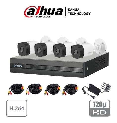 kit 4 cámaras  dahua 720p cables 20m fuente 1 mp