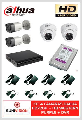 kit 4 cámaras dahua hd720p + 1tb western purple + dvr