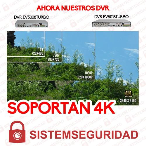 kit 4 cámaras de seguridad 5mp epcom garantía 2 años dvr 4 c