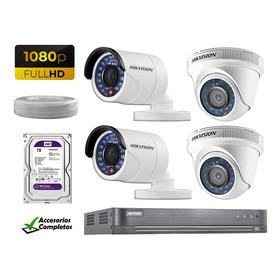 Kit 4 Camaras De Seguridad Full Hd Hikvision 1tb Wd Completo