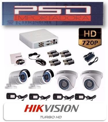kit 4 cámaras de seguridad hd hikvision 720p dvr