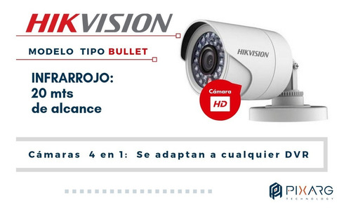 kit 4 camaras exterior dvr hikvision 8 ch fullhd lite + disco + cables o baluns