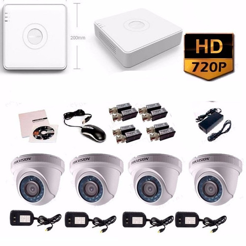 kit 4 camaras hd 720p hik vision disco 500gb