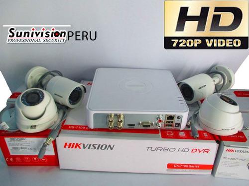 kit 4 camaras hd 720p hik vision disco 500gb