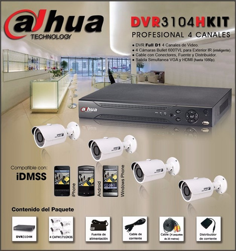 kit 4 camaras hd dahua